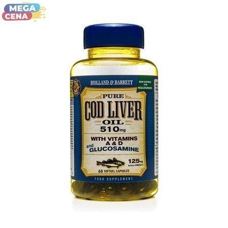 Olej z Wątroby Dorsza z Glukozaminą 500 mg 60 Kapsułek