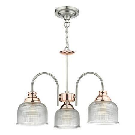 WHARFDALE 3LT Lampa Sufitowa Satyna Chrom Miedź Szkło